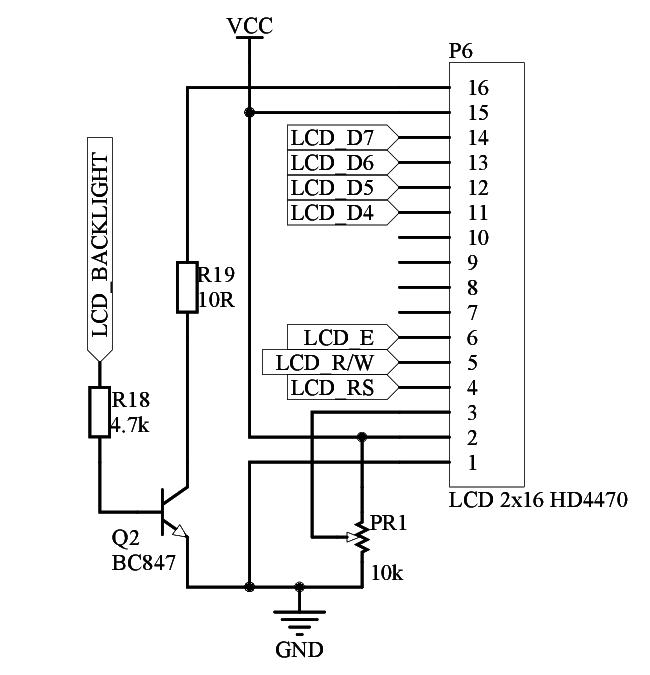 Schemat podłączenia wyświetlacza alfanumerycznego LCD
